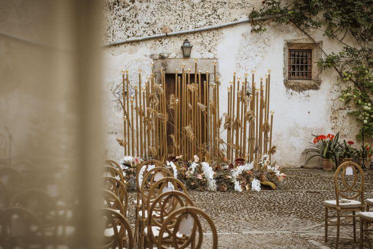 Stylish Wedding Altar Decor in Mallorca Courtyard