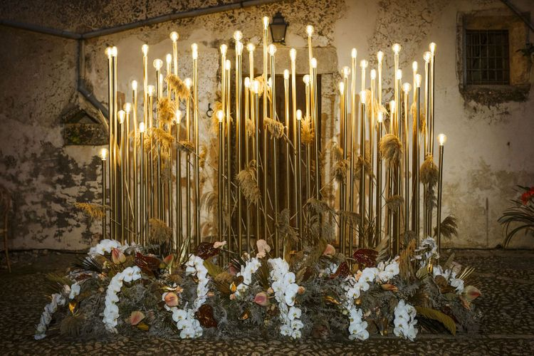 Stylish Gold Wedding Lighting Backdrop with Orchids and Anthurium Flowers
