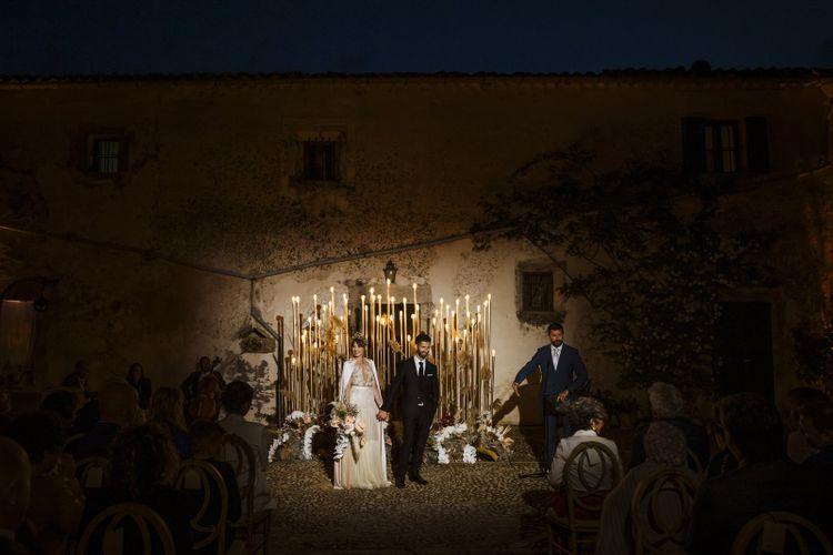Night Time Wedding Ceremony with Light Altar Decor
