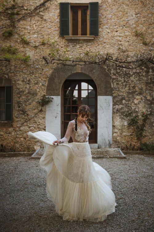 Bride in Company Novias Wedding Dress with Long Sleeves