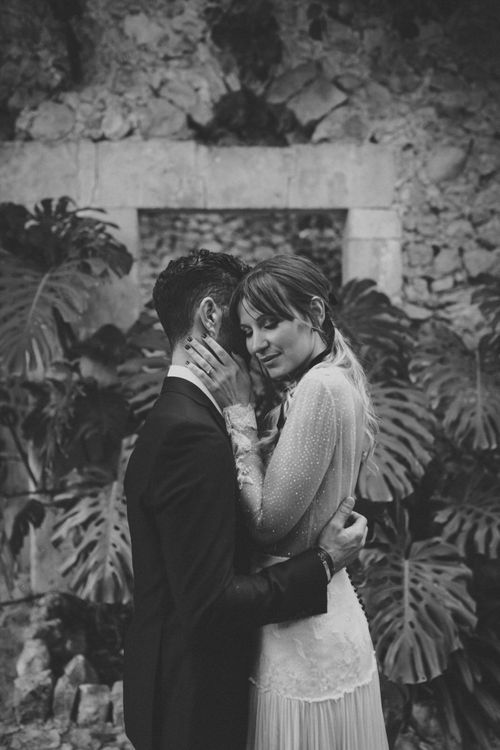 Tender Black and White Bride and Groom Portrait