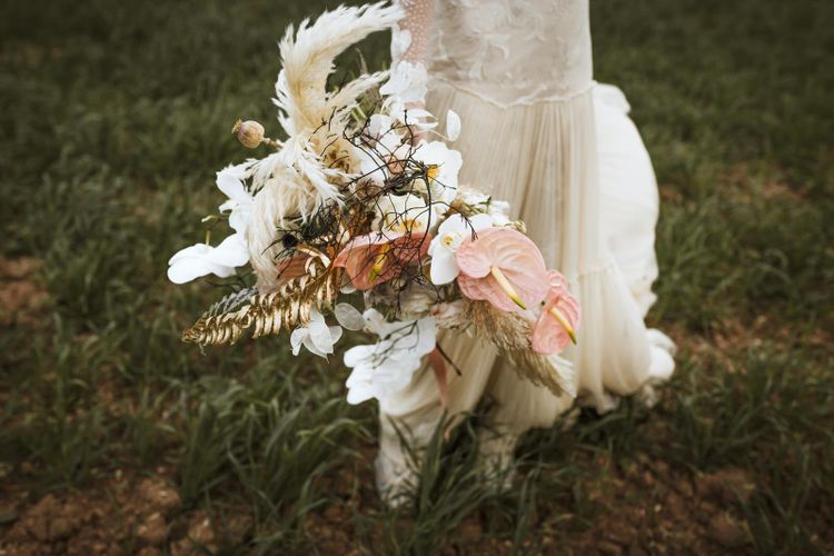 Boho Bouquet with Pampas Grass, Orchids and Anthuriums