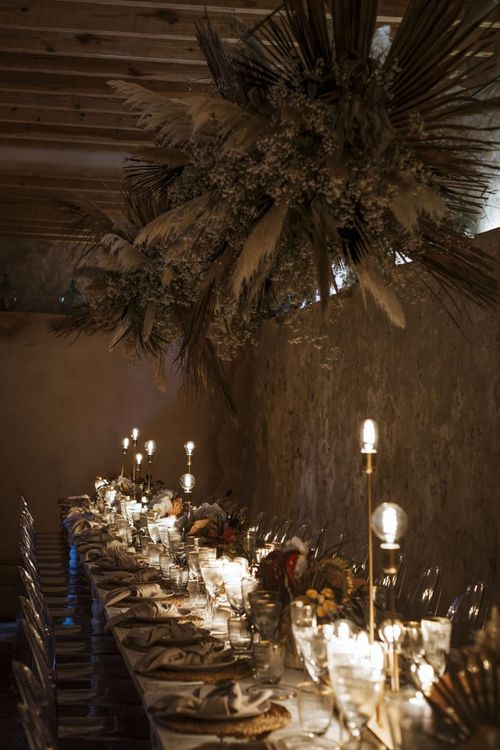 Wedding Reception with Dried Flower Installation and Wedding Lighting