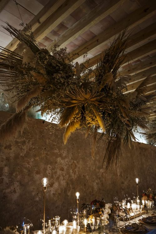 Dried Flower Installation with Giant Palm Leaves and Pampas Grass