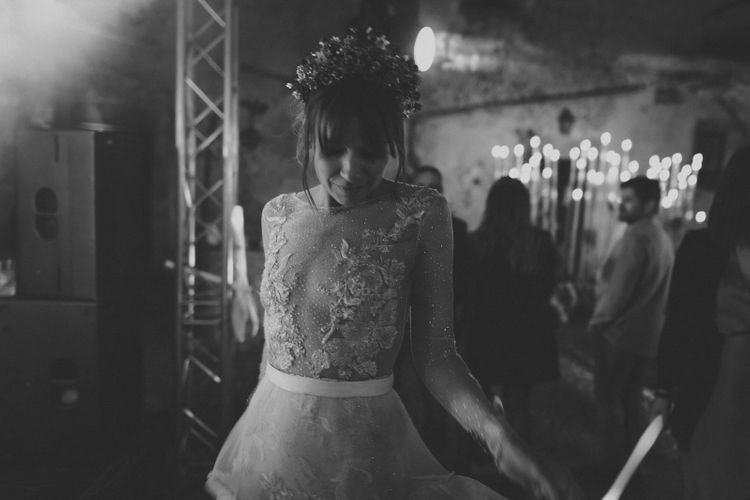 Stylish Bride in Mesh Wedding Dress with Lace and Sequin Detail and Crown