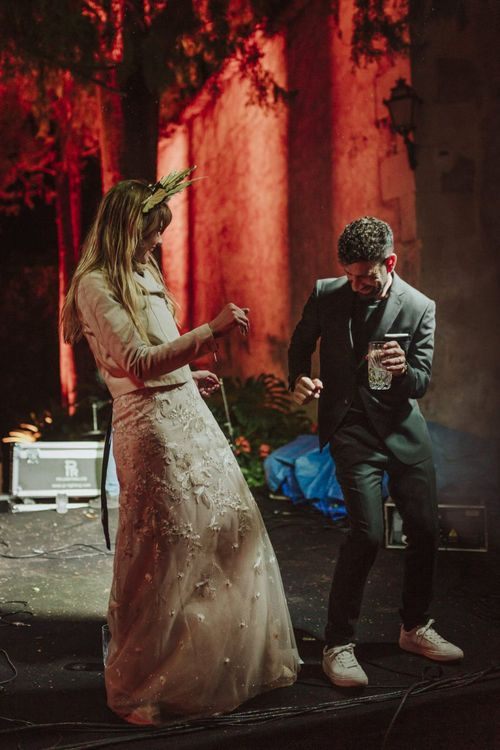 Bride and Groom Dancing at the Evening Reception