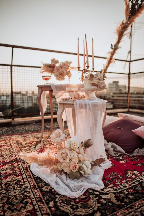 Boho styling at intimate rooftop wedding