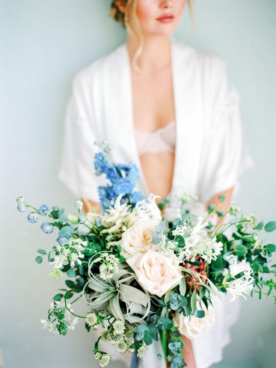 Oversized Bridal Bouquet with Roses, Foliage & Stocks | Pastel Blue & Green, Romantic, Destination Wedding at Corfu Luxury Villas, Planned by Rosmarin Weddings & Events | Mikhail Balygin Fine Art Wedding Photographer