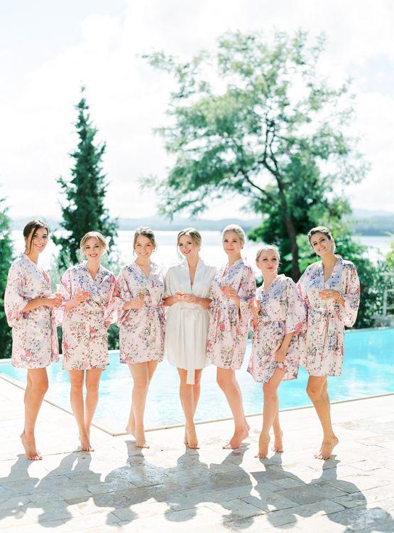 Bridal Party in Matching Getting Ready Robes | Pastel Blue & Green, Romantic, Destination Wedding at Corfu Luxury Villas, Planned by Rosmarin Weddings & Events | Mikhail Balygin Fine Art Wedding Photographer