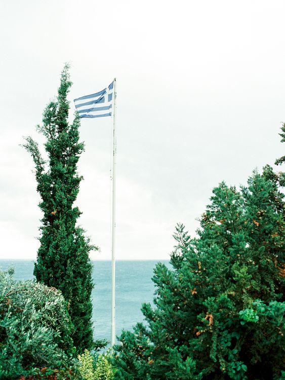Greek Flag | Outdoor Wedding Ceremony Aisle & Altar | Pastel Blue & Green, Romantic, Destination Wedding at Corfu Luxury Villas, Planned by Rosmarin Weddings & Events | Mikhail Balygin Fine Art Wedding Photographer