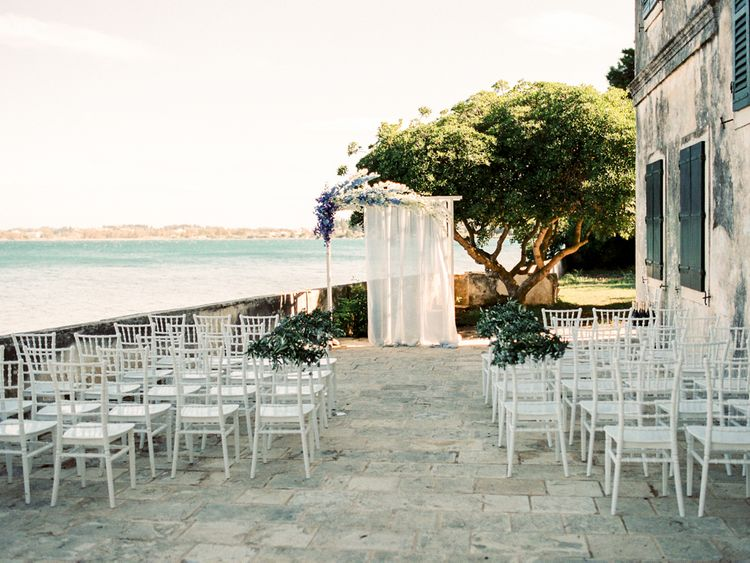 Outdoor Wedding Ceremony Aisle & Altar | Pastel Blue & Green, Romantic, Destination Wedding at Corfu Luxury Villas, Planned by Rosmarin Weddings & Events | Mikhail Balygin Fine Art Wedding Photographer