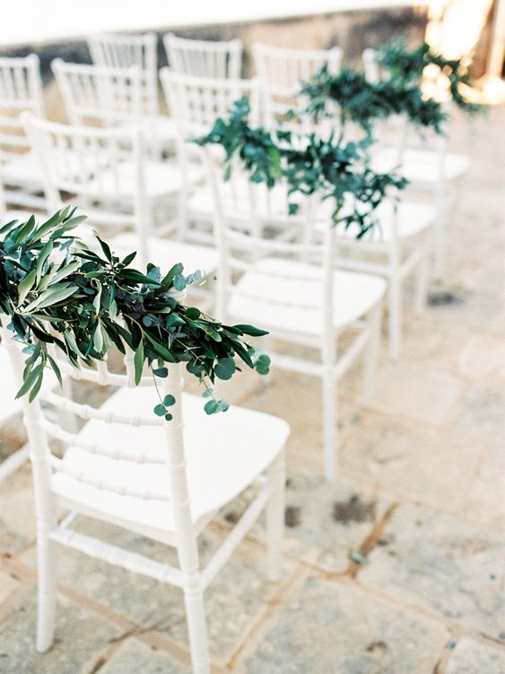 Outdoor Wedding Ceremony Aisle Chair Foliage | Pastel Blue & Green, Romantic, Destination Wedding at Corfu Luxury Villas, Planned by Rosmarin Weddings & Events | Mikhail Balygin Fine Art Wedding Photographer