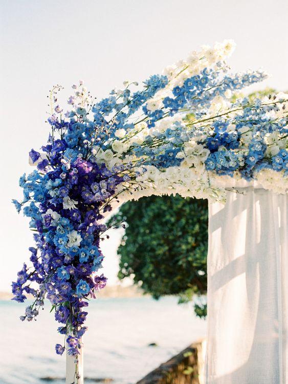 Blue & White Altar Wedding Flowers | Pastel Blue & Green, Romantic, Destination Wedding at Corfu Luxury Villas, Planned by Rosmarin Weddings & Events | Mikhail Balygin Fine Art Wedding Photographer