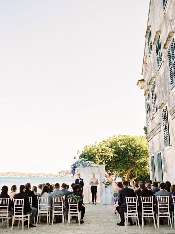 Outdoor Wedding Ceremony | Outdoor Wedding Ceremony Aisle & Altar | Pastel Blue & Green, Romantic, Destination Wedding at Corfu Luxury Villas, Planned by Rosmarin Weddings & Events | Mikhail Balygin Fine Art Wedding Photographer
