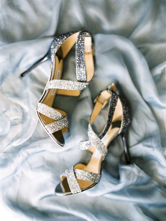 Silver Jimmy Choo Bridal Shoes | Pastel Blue & Green, Romantic, Destination Wedding at Corfu Luxury Villas, Planned by Rosmarin Weddings & Events | Mikhail Balygin Fine Art Wedding Photographer