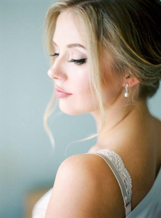 Elegant Bridal Makeup with Winged Eyeliner | Pastel Blue & Green, Romantic, Destination Wedding at Corfu Luxury Villas, Planned by Rosmarin Weddings & Events | Mikhail Balygin Fine Art Wedding Photographer