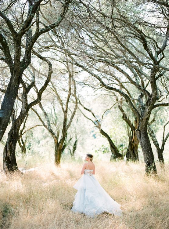 Bride in Coloured Hayley Paige Wedding Dress | Pastel Blue & Green, Romantic, Destination Wedding at Corfu Luxury Villas, Planned by Rosmarin Weddings & Events | Mikhail Balygin Fine Art Wedding Photographer