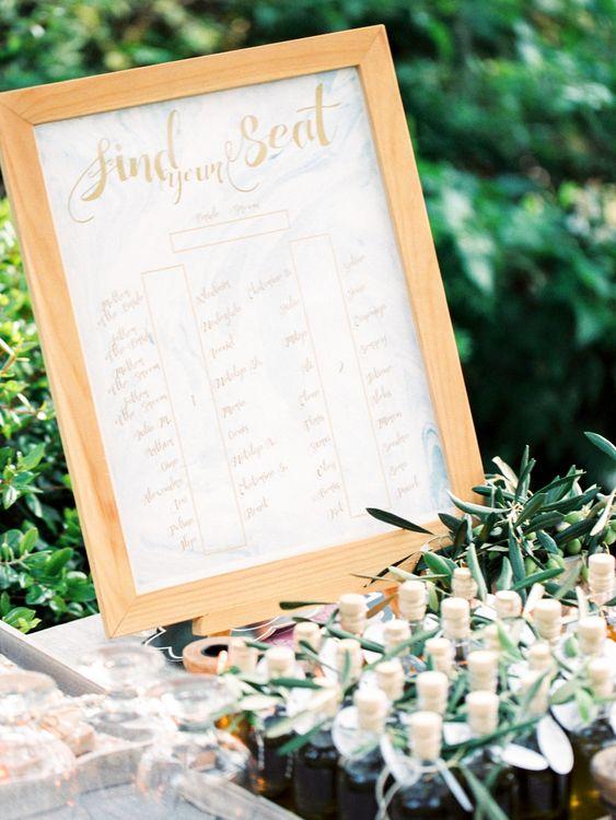 Framed Table Plan | Pastel Blue & Green, Romantic, Destination Wedding at Corfu Luxury Villas, Planned by Rosmarin Weddings & Events | Mikhail Balygin Fine Art Wedding Photographer