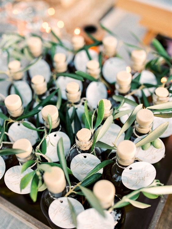 Miniture Olive Oil Wedding Favours | Pastel Blue & Green, Romantic, Destination Wedding at Corfu Luxury Villas, Planned by Rosmarin Weddings & Events | Mikhail Balygin Fine Art Wedding Photographer
