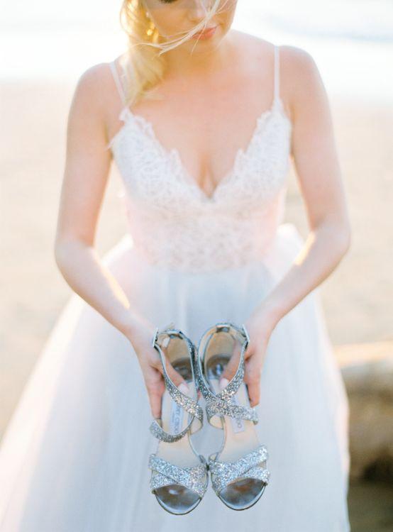 Jimmy Choo Silver Shoes | Hayley Paige Coloured Wedding Dress | Pastel Blue & Green, Romantic, Destination Wedding at Corfu Luxury Villas, Planned by Rosmarin Weddings & Events | Mikhail Balygin Fine Art Wedding Photographer