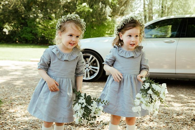 Flower Girls In Grey Dresses // Juliet Cap Veil For A Wildflower Filled Wedding At Chenies Manor // Bride In Apache By Jenny Packham // Image By Eneka Stewart Photography
