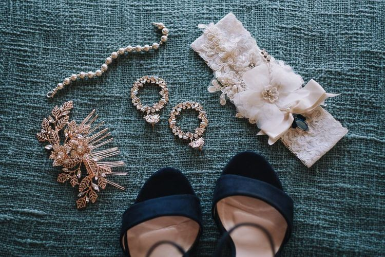 Wedding Jewellery and Garter With Shoes For Bride
