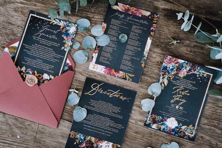 Opulent Wedding Stationery In Moody Colours For South African Wedding