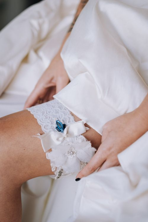 Bridal Accessories Wedding Garter With Blue Detail