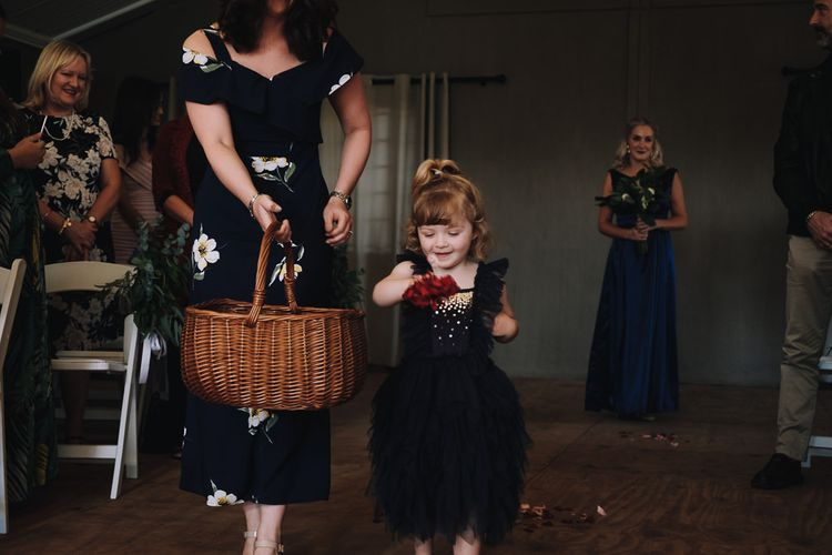 Kids At Wedding Flower Girl Dropping Petals Down The Aisle