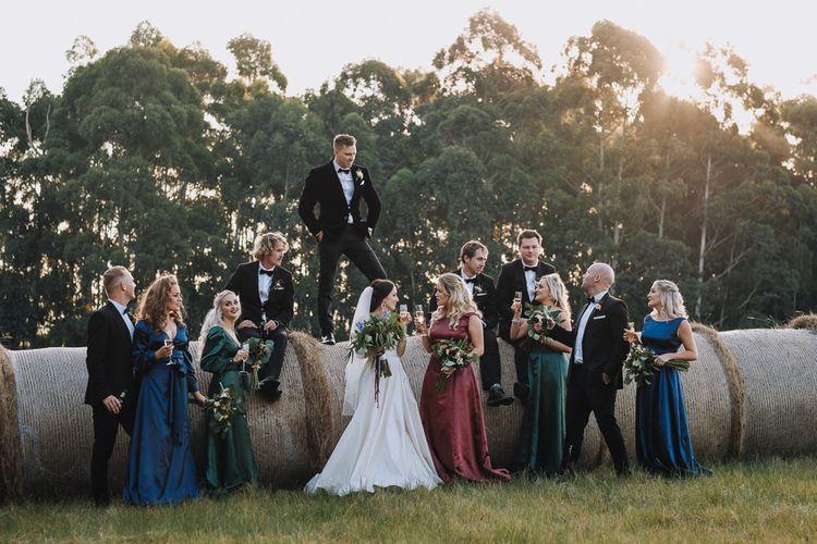 Wedding Venue Strike A Pose On Hay Bails