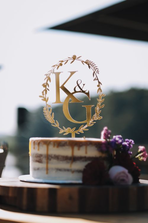 Wedding Cake Topper With Couples Initials with Polaroid Guest Book