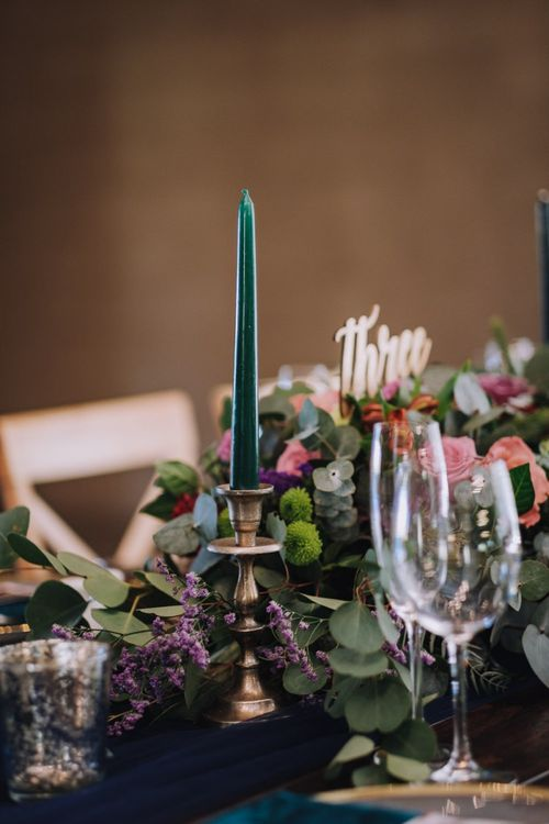Wedding Table Decoration With Bright Flowers And Candles