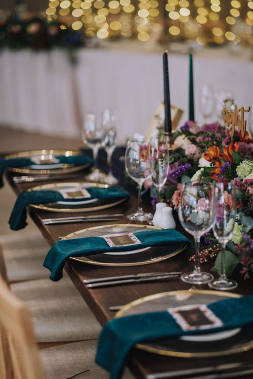 Wedding Table Place Settings With Velvet Napkins And Bright Flowers