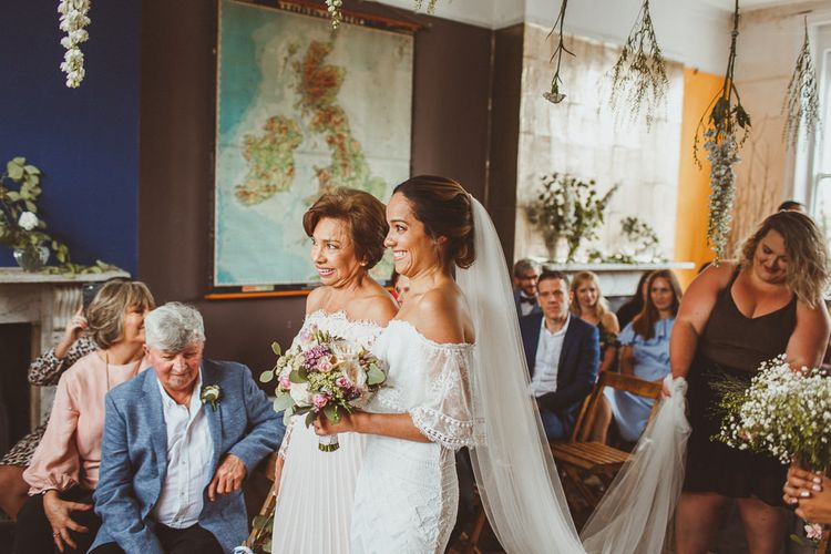 Ceremony Bridal Entrance in Emanuela Grace Loves Lace Dress with Her Mother