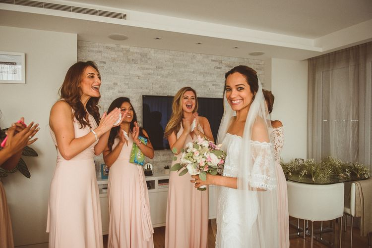 Morning with Bridesmaids Clapping as Bride Does her Final Reveal in a Lace 'Emanuela' Grace Loves Lace Wedding Dress