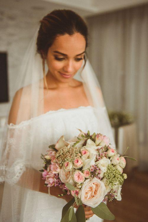 Bride in Lace Off The Shoulder 'Emanuela' Grace Loves Lace Wedding Dress withVeil and Romantic Bouquet