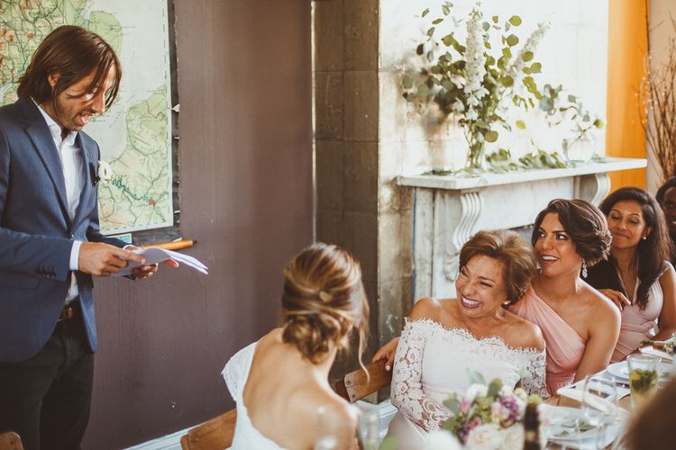 Mother of The Bride in Lace Bardot Dress Laughing During The Speeches.