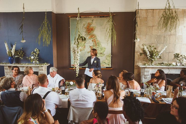 Hanging Flowers and Foliage Reception Decor