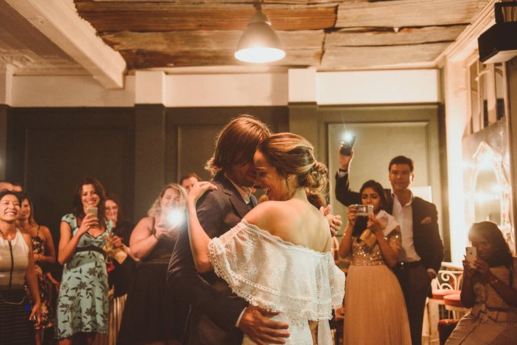 First Dance with Bride in Off The Shoulder Grace Loves Lace Dress and Groom in Blue Blazer