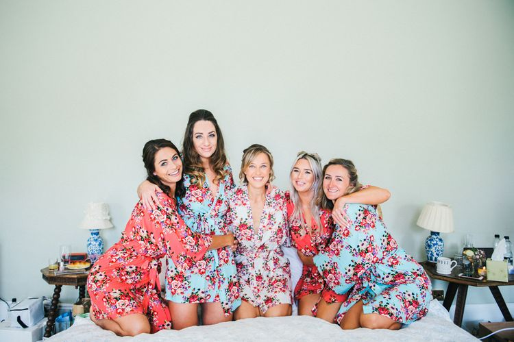 Wedding Morning Preparations | Bridal Party | Floral Getting Ready Robes | Colourful Pennard House Wedding With Bride Wearing Alexandrer Wang Dress | Allison Dewey Photography