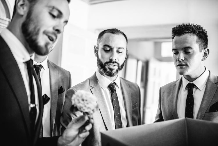 Wedding Morning Preparations | Groom in Ted Baker Suit | Groomsmen in River Island Suits | Colourful Pennard House Wedding With Bride Wearing Alexander Wang Dress | Allison Dewey Photography