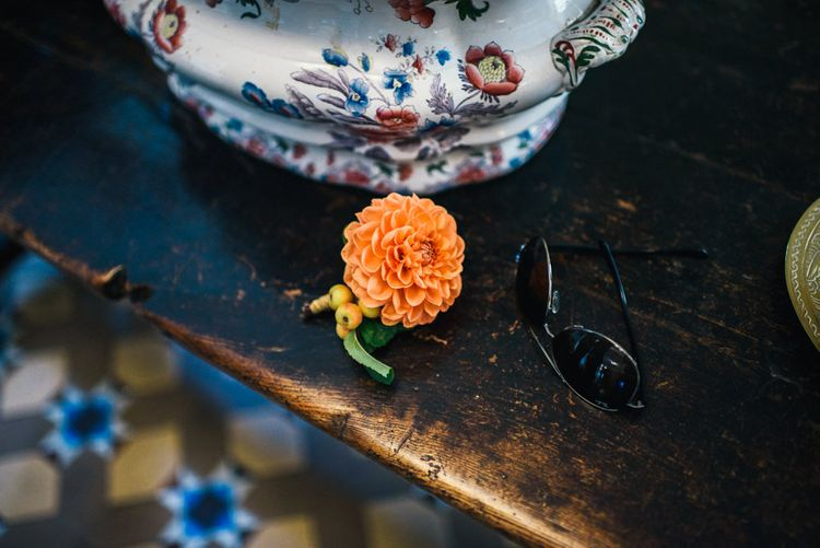 Orange Dahlia Buttonhole |  Colourful Pennard House Wedding With Bride Wearing Alexander Wang Dress | Allison Dewey Photography