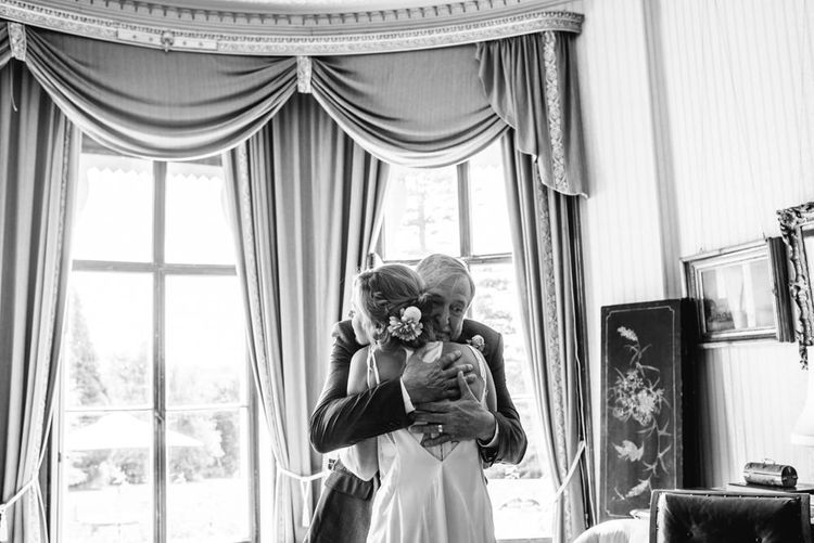 Wedding Morning Preparations | Bride in Racerback Alexander Wang Wedding Dress | Colourful Pennard House Wedding | Allison Dewey Photography