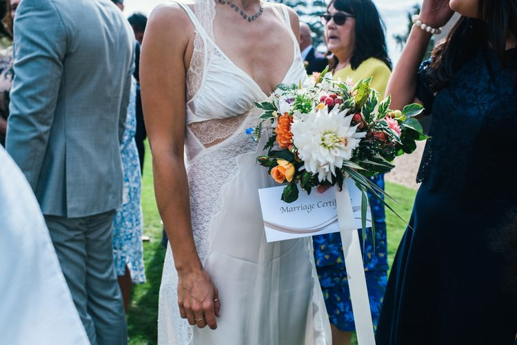 Bride in Alexander Wang Wedding Dress | Bright Bouquet of Dahlias | Colourful Pennard House Wedding With Bride Wearing Racerback Dress | Allison Dewey Photography