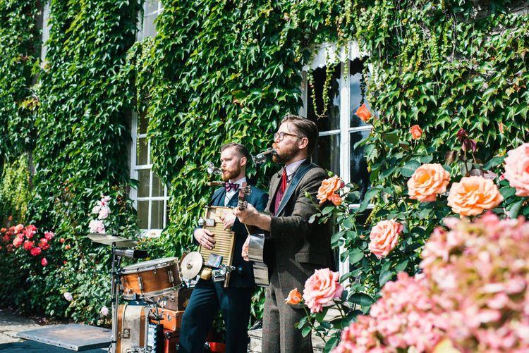 Wedding Reception | The Washboard Resonators Band | Colourful Pennard House Wedding With Bride Wearing Racerback Dress | Allison Dewey Photography