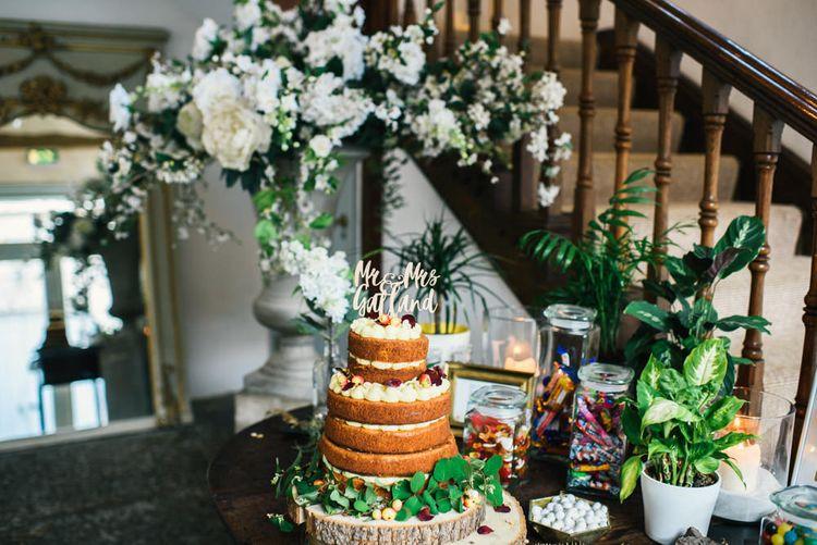 Wedding Cake | Colourful Pennard House Wedding With Bride Wearing Racerback Dress | Allison Dewey Photography