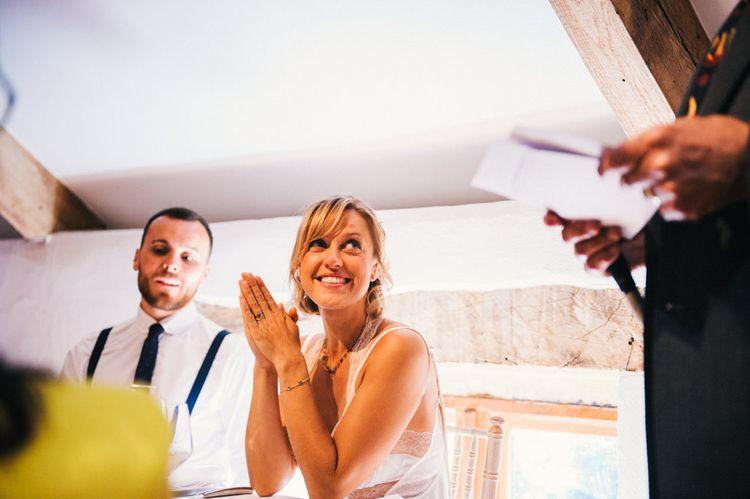 Wedding Reception | Bride in Racerback Alexander Wang Wedding Dress | Colourful Pennard House Wedding With Bride Wearing Racerback Dress | Allison Dewey Photography