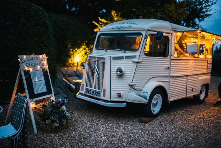Wedding Reception | Le Cafe Creme  Crepe Van | Colourful Pennard House Wedding With Bride Wearing Racerback Dress | Allison Dewey Photography