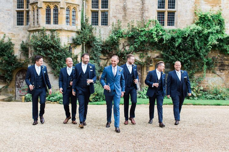 Groomsmen in Navy Blue Wedding Suits