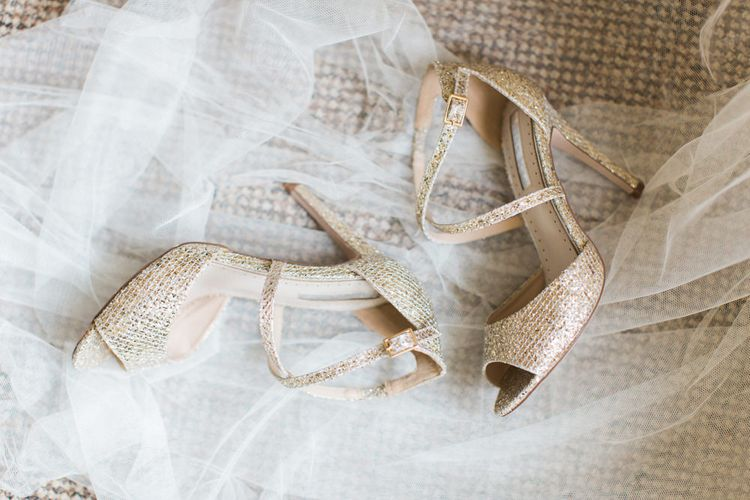 Gold Kurt Geiger Peep Toe Bridal Shoes